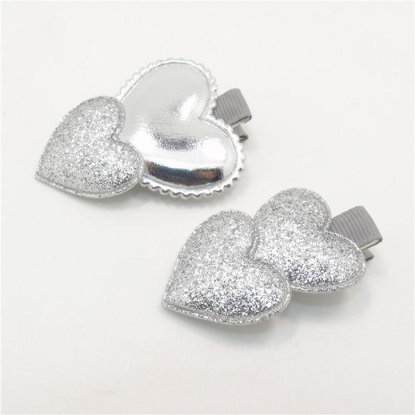 10 adet / grup Tırmanmak Glitter Kalp Şekli Bebek Tokalar Parlak PU Saç Klip Bebek Duş Tatlı Yenidoğan Kız Tokalarım Sevgililer Grip