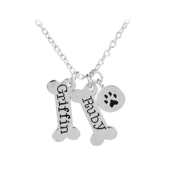 Dog Tag Necklace Silver-Plated Pendant Roby Griffin Bones Shaped Necklace With Dog Paw Footprint Pendant Pet Lovers Jewelry Gift 162127