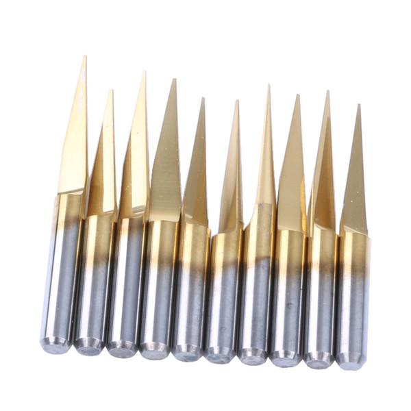 10pcs 25 Degree Titanium Coated Carbide PCB Engraving Bits CNC Router Tool