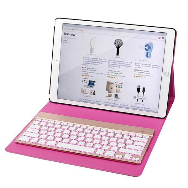 2017 nueva rosa para iPad Pro 12.9 caso con teclado 7 color retroiluminado Bluetooth y elegante folio PU funda de cuero 3.0 teclado inalámbrico