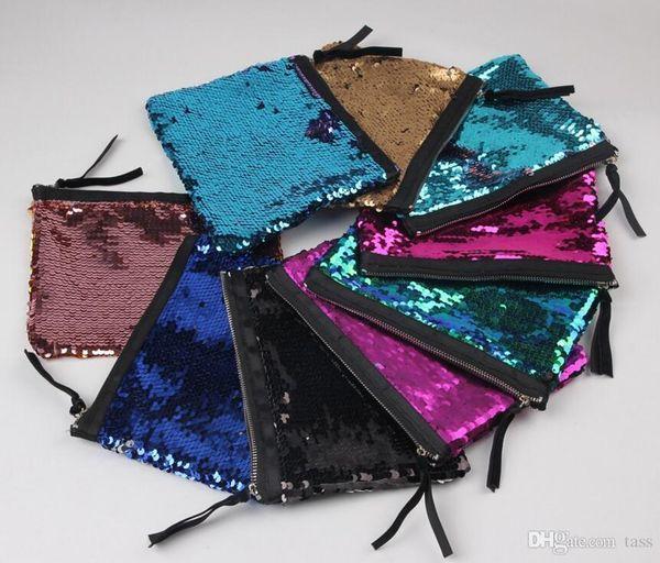 500Pcs Women Reversible Sequins Mermaid Glitter Handbag Evening Clutch Bag Wallet Purse makeup Bags Storage Coin bag 9 color