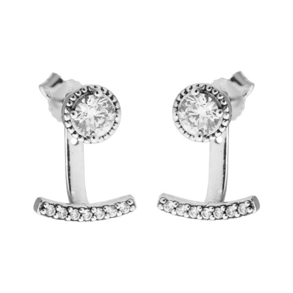 Abstract Elegance Stud Earrings & Clear CZ 2017 Spring 100% 925 Sterling Silver Earrings Authentic Fashion Jewelry