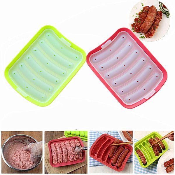DIY 6-link Molde de salchicha Huevo de silicona Salchicha Torta Jamón Caja de salchichas Hot Dog Maker Cocina Microondas Horno Herramientas