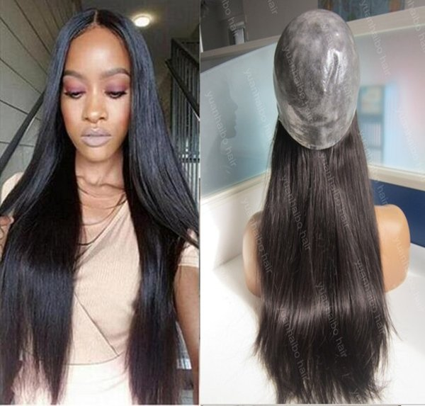 Top selling super silicone wig 1b silky straight 100 virgin indian human hair full thin skin wig free shipping