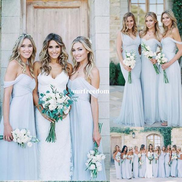 top popular Amsale 2019 Gorgeous Draped Sky Blue Off-shoulder Beach Boho Long Bridesmaid Dresses Bohemian Wedding Party Guest Bridesmaids Gown Cheap 2021