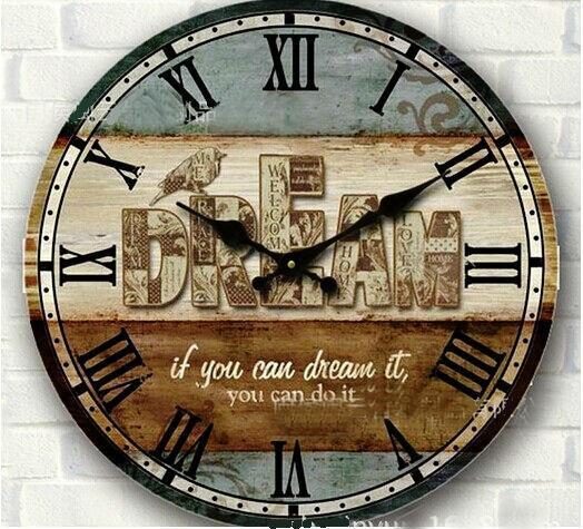 Gros-34cm vintage horloge murale en bois rustique grand circulaire numérique maison décor de mur chambre cuisine bois artisanat avec oiseau imprimer