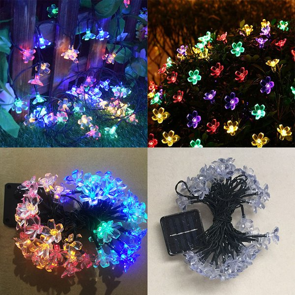 Solar Christmas Decorations.2019 New Led Peach Sakura Solar Powered Light Halloween Christmas Decorations 50 Lights Home Outdoor Garden Patio Party Holiday Supplies Wx9 37 From