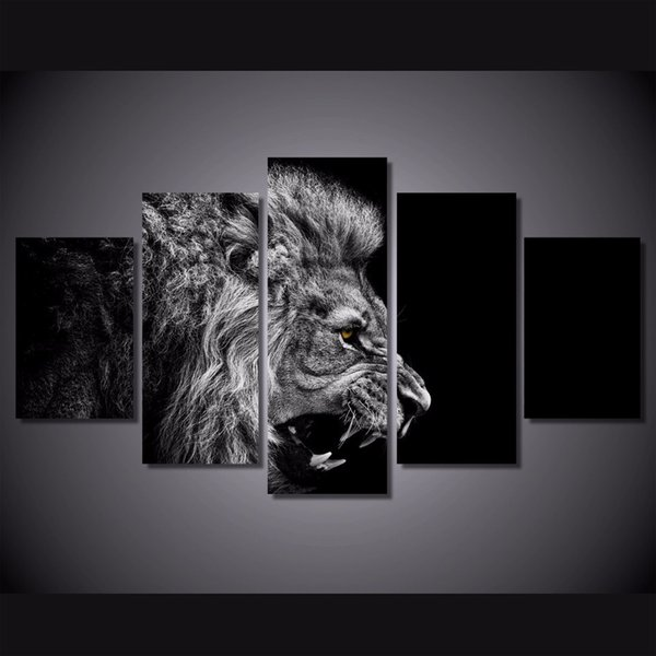 5 Pcs/Set Framed HD Printed Black White Lion Picture Wall Art Canvas Room Decor Poster Canvas Modern Oil Painting