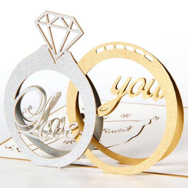 Großhandels- (5 / Los) geben Verschiffen frei Diamant-Paar-Ring-handgemachte Kirigami Pop 3D Gruß-Karten-Hochzeits-Ring-Karten für Valentinstag