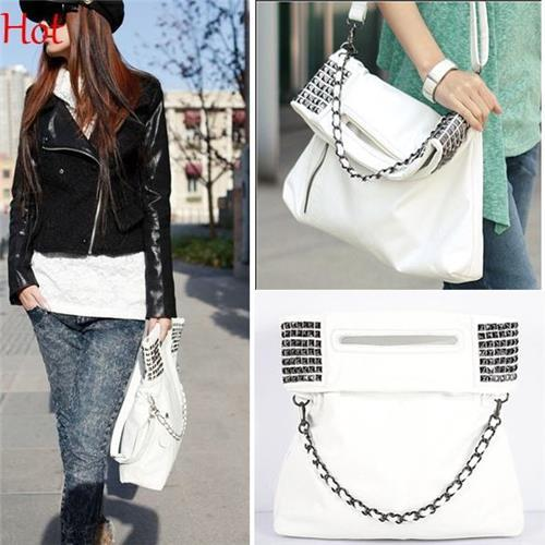 Wholesale- New Korean Rivets Shoulder Bags Ladies Women Leather Handbag Crossbody Bag Leather Messgnger Punk Studs White Chain Bags 4181