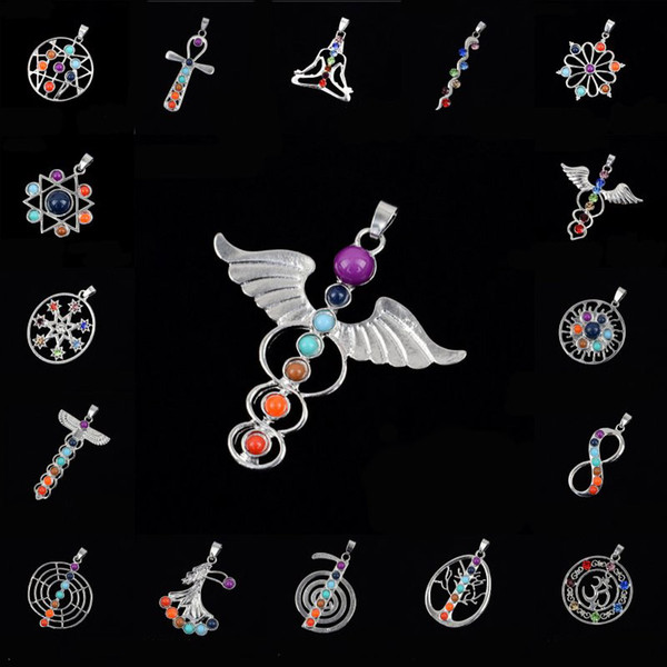 top popular 20 Styles Silver Color And Religious 7 Chakra Crystal Pendant Religious Culture Women Jewelry Inlaid Gemstones Free DHL B912S 2019