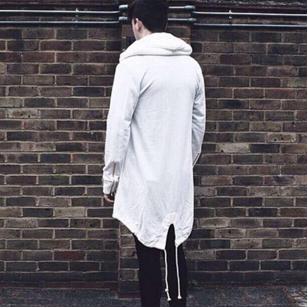 Wholesale- 2017 Fashion Men's Autumn Winter Long Hooded Cardigan Trench Fashion Irregular Solid Cloak Coat Jacket Coat Outerwear Plus Size
