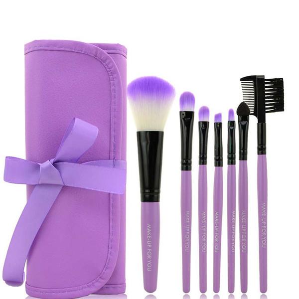 DHL FREE brand MAKE-UP FOR YOU 7PCS Makeup Brush Set Pocket Portable Brush Makeup Tools Dome Blush Eyebrow Brush Lip Brush Leather Pouches