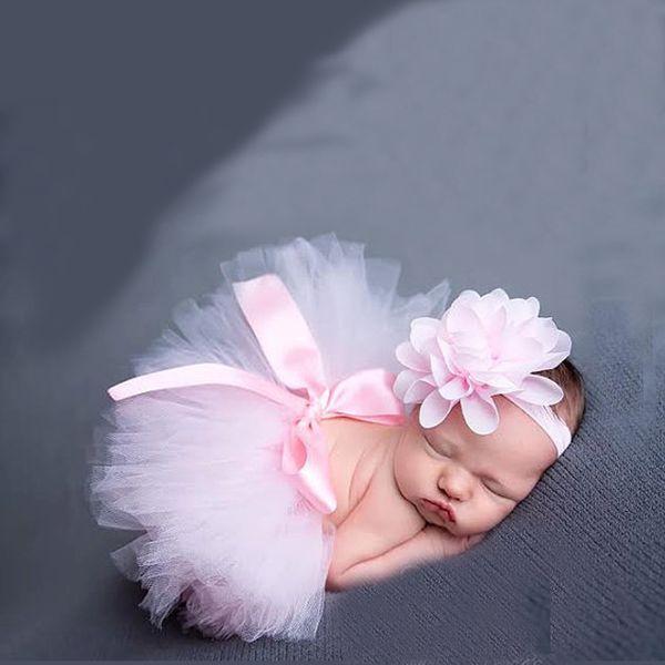 2Pcs/Set Baby Girls Mesh Ball Gown Tutu dress +Flower headband For Photography Prop Baby Clothing Set