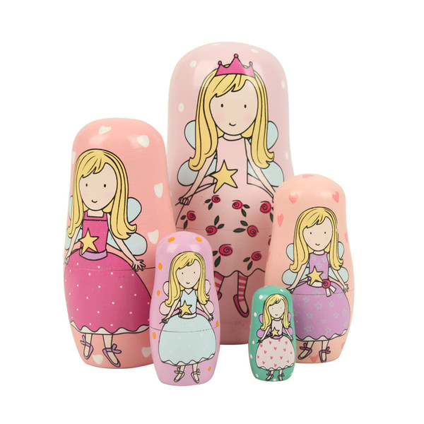 Lovely 5 Layers Russia Doll Colorful Hand Painting DIY Angel Doll Home Decoration Toy for Chirldren Christmas Gift