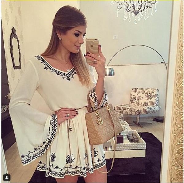 2017 Sexy Plus Size Bell sleeve Summer Dresses for Women Party Mini Sun Dress Short dress White Club Dresses casual dress