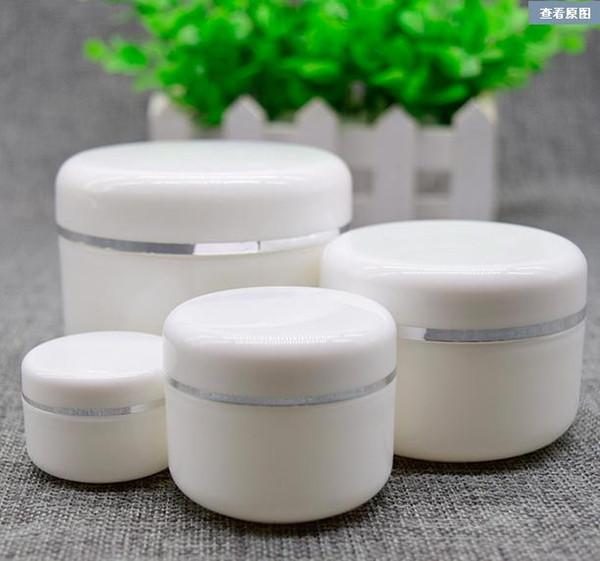 Wholesale- 20g 50g 100g 250g barattolo di crema, contenitore di plastica bianco per trucco, scatola di cosmetici campione PP, contenitore vuoto per maschera Bottiglie riutilizzabili