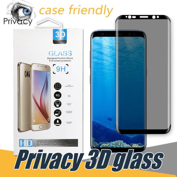 Vidrio templado de privacidad para Galaxy S9 S8 Plus Note8 Estuche amigable anti-espía de pantalla completa Protector de pantalla 3D Película de pantalla curvada con paquete