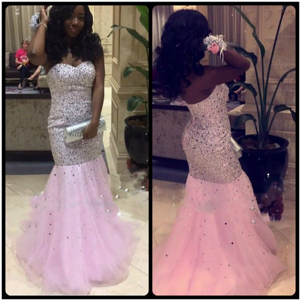 African Black Girl Prom Dresses 2017 Shining Beading Crystal Mermaid Formal Evening Party Gowns Backless Pink vestido longo