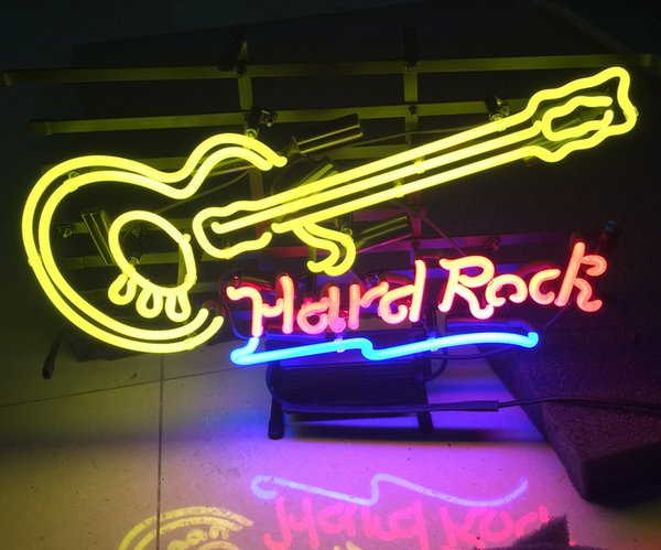 "17""x14"" Hard Rock Guitar Decor Crafts GLASS TUBE NEON LIGHT BEER BAR PUB SIGN STORE SIGNAGE"