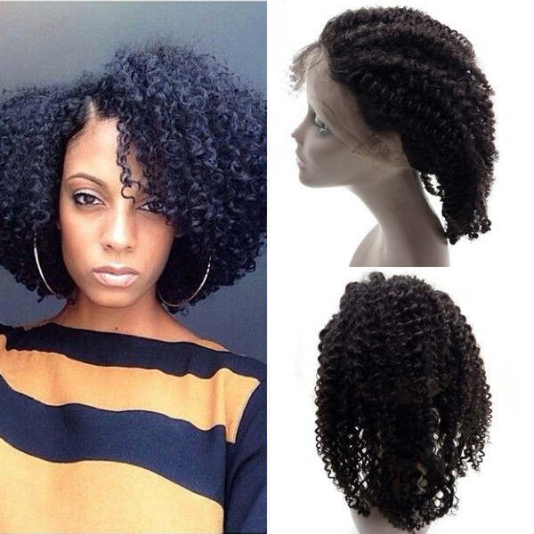 Afro Kinky Curly Peruvian Human Hair 360 Lace Frontal Closure Natural Color 10-20 inch for Black Women FDSHINE