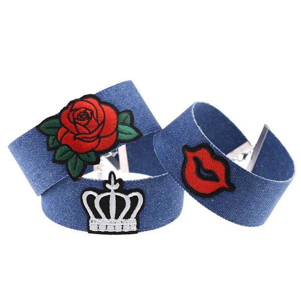 New Blue Denim Embroidery Choker Necklace Collar Rose Cool Heart Diamond National Flag Crown Butterfly Charm for Women Jewelry 162090