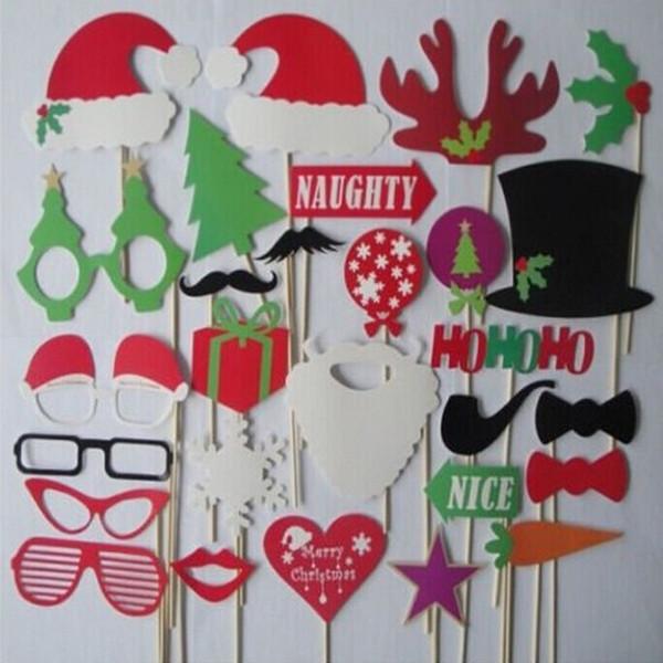 Wholesale 28PCS/Lot Christmas Photo Booth Props Photobooth Funny Christmas Decoration Christmas Accessories Merry Xmas