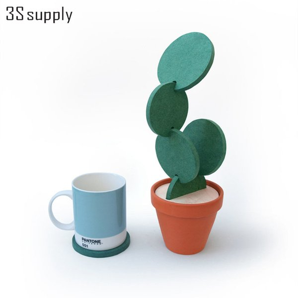 Wholesale- 1 Set Novelty Cactus Placemat Table Desk Decorations Detachable Heat Insulated Table Mat Drink Coasters Modern Gifts Storage Pot