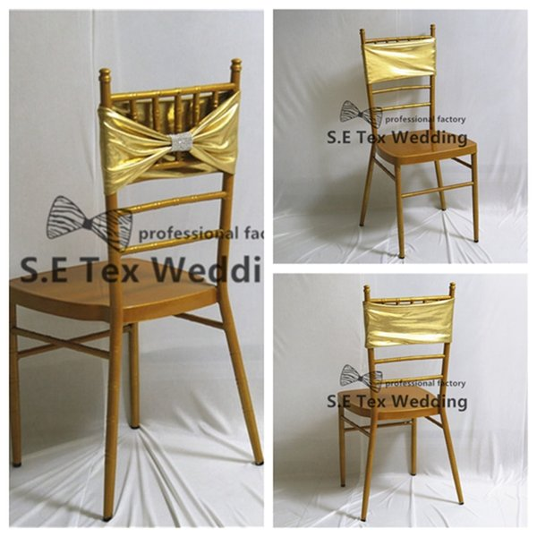 Wholesale Price Double Layer Bronzing Coated Lycra Spandex Chair Band Chair Sash With Diamond Buckle For Wedding Party Decoration