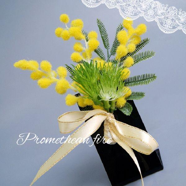 fiore spilla acacia spilla artificiale verde giallo corpetto fiore all'occhiello per il migliore uomo abito da sposa accessori sposi groomsmen spille
