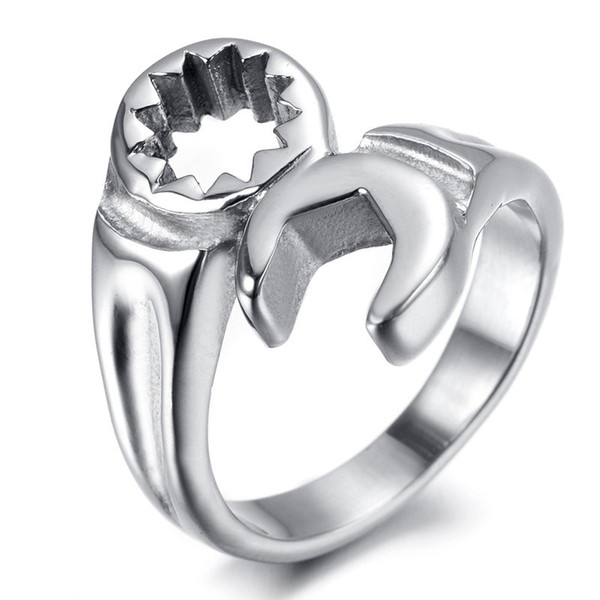 Fashion Cool Biker Mechanic Wrench Stainless Steel Punk Biker Spanner Rings Fashion Simple Man Silver Ring Jewelry wholesale