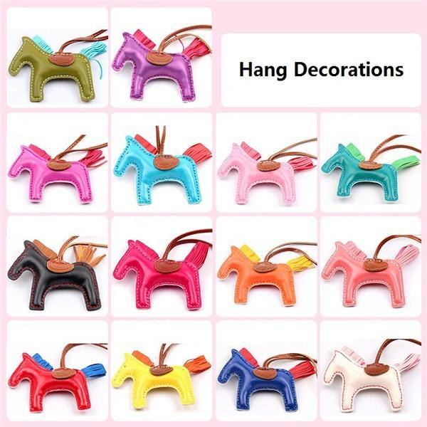 17 Colors Fashion Cute Women's Bag Pendant High-end Handmade PU Handbag Key Chains Tassel Rodeo Horse Bag Charm bag Accessories DHL Free
