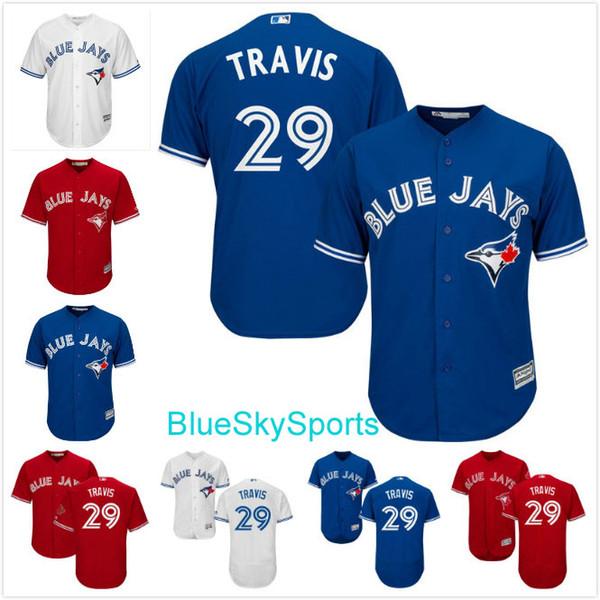 toronto blue jays jersey 29 devon travis white blue red cool base flexbase stitched baseball jerseys