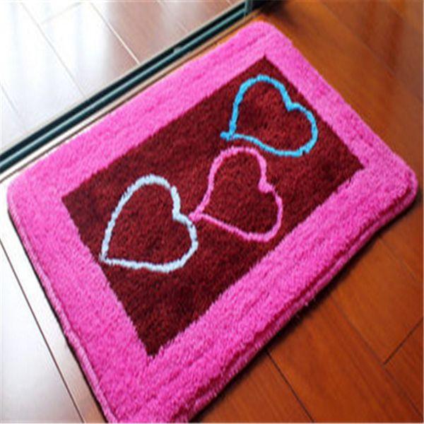 Acheter Livraison Gratuite Dessin Animé Rose Coeur Fleur Lavable Nouveau épais Tissu Tapis Café Amour Tapis Tapis Salle De Bains Couleurs Pour Le