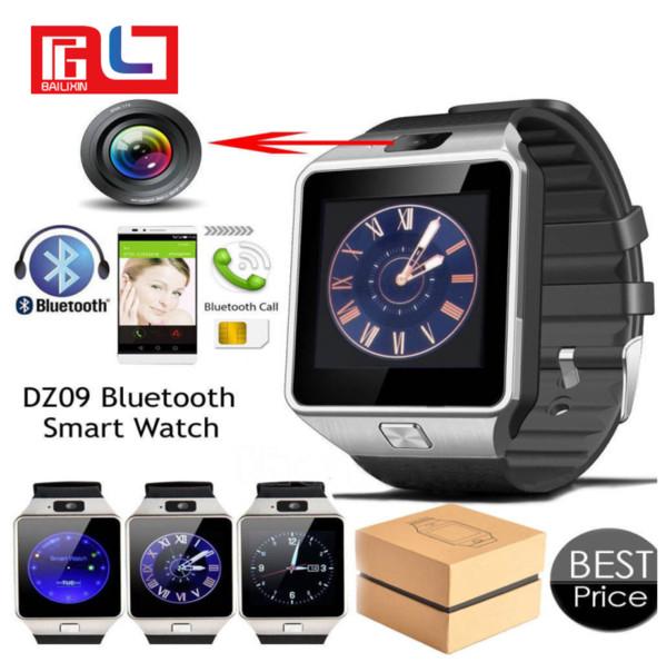 Bluetooth Smart Watch Phone Camera Soporte Tarjeta SIM para Android / iOS Phone DZ09 con la caja de venta al por menor