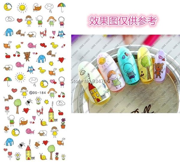 Wholesale- DS184 DIY Nail Design Water Transfer Nails Art Sticker Cute Cartoon Picture Nail Wraps Sticker Watermark Fingernails Decals
