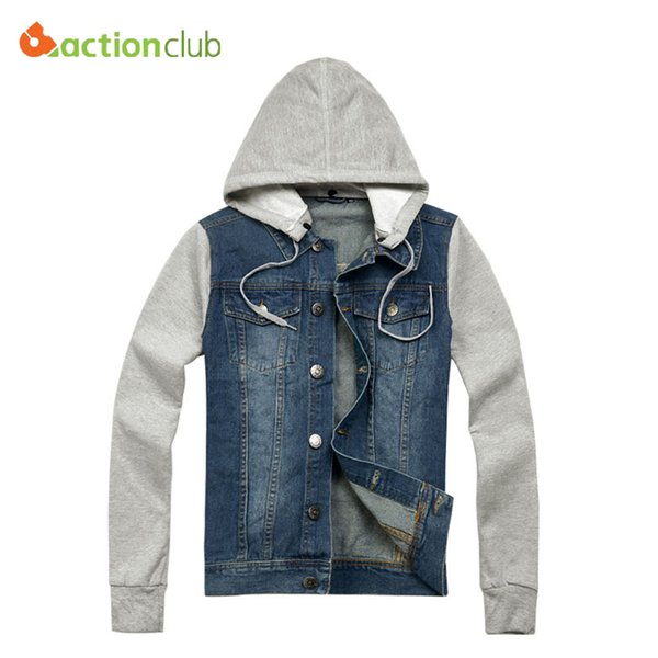 Toptan-Ücretsiz kargo Yeni Gelmesi Sonbahar erkek ceket kot kapüşonlu ceket jean kazak kol kot ceket Yüksek kalite