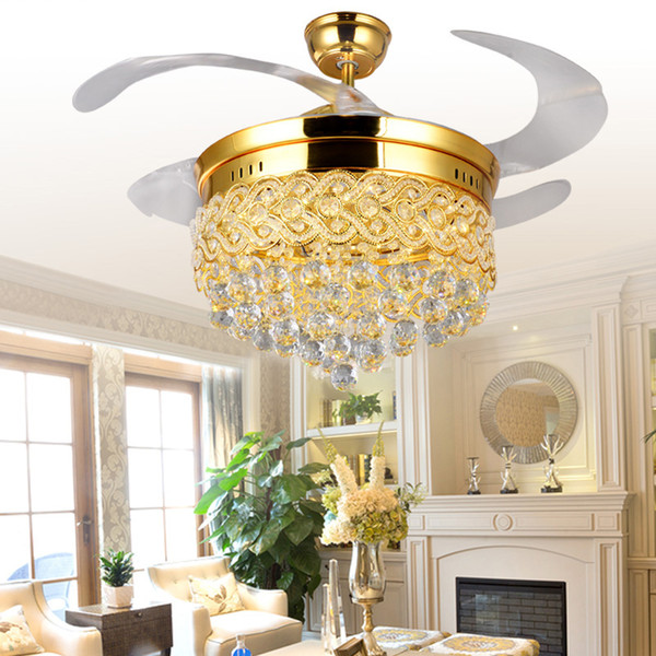 best selling 42Inch Invisible Crystal Light Ceiling Fans Modern LED Crystal Lamp Indoor Parlor Ceiling Fans Crystal Pedant Light with Remote Control