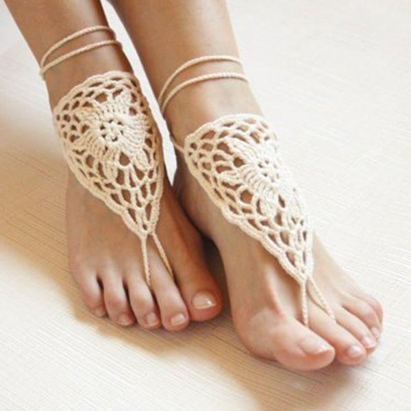 Compre Crochet A Mano Sandalia Descalza De Ganchillo Blanco ...