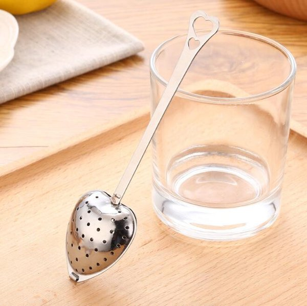 "2017 Hot Spring ""Tea Time"" Convenience Heart Tea Infuser Heart-Shaped Stainless Herbal Tea Infuser Spoon Filter Free Shipping"