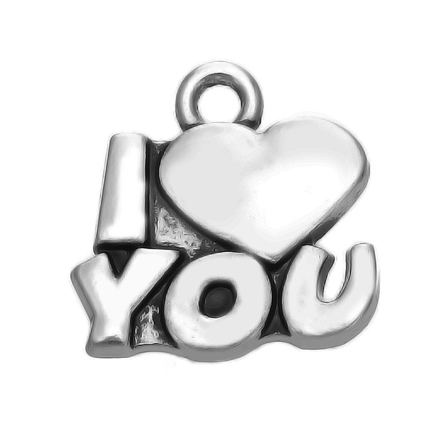 Sweet Love Message I Love You with Heart Jewelry Zinc Alloy Metal Fashion Antique Silver Plated Hot Sell Charm DIY Necklaces&Bracelets