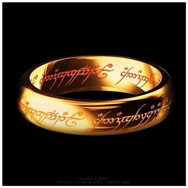Atacado-Hobbit Carta Anéis de aço inoxidável preto o Senhor Um Anéis de Aço Titânio 6MM Men Anéis