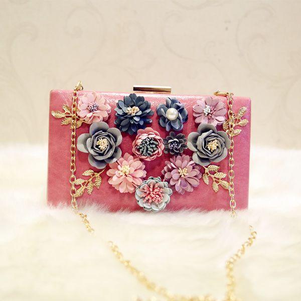 Großhandels-handgemachte Hochzeits-Geldbeutel-Handtaschen-Diamant-Perlen-Partei-Beutel-bunte Blumen-Abend-Beutel-elegante Tageskupplungs-Geldbörse ZZ514