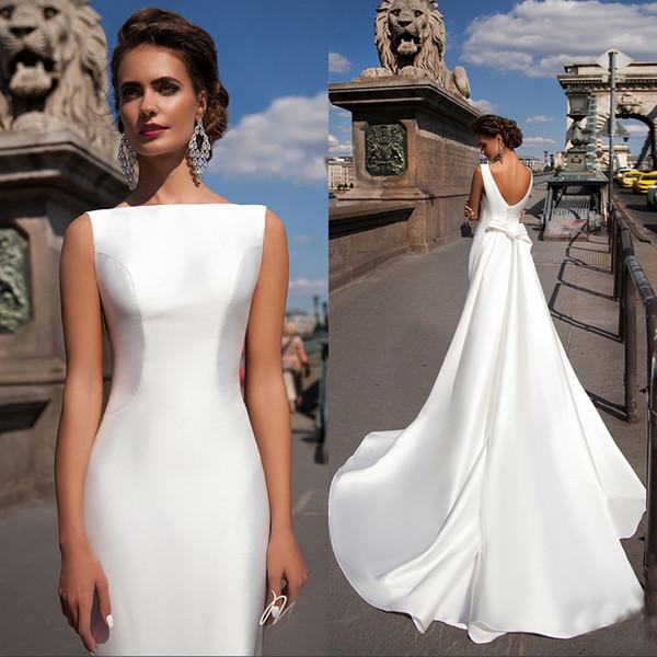 Sirena satinada Vestidos de novia 2018 Bateau Cuello barco sin mangas Ajustado vaina larga con tren desmontable Arco V Volver más vestidos de novia