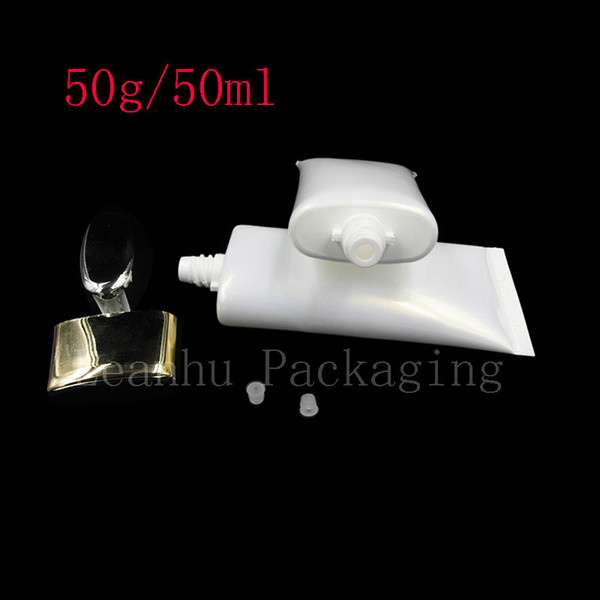 50G X 50 Empty White BB Cream Tube For Cosmetics Packaging 50ml Lotion CC Cream Plastic Bottles Skin Care Cream Containers Tube