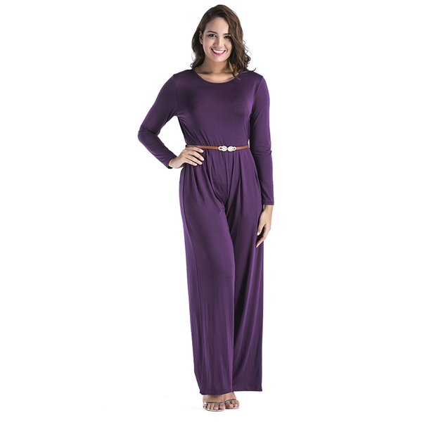 XL new fall ladies sexy long-sleeved wide leg pants with waistband