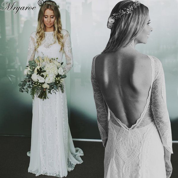 fadf3288c6c5 Real Picture Exquisite French Lace Long Sleeve Open Back Boho Beach Wedding  Dresses Chiffon Lace Bohemian