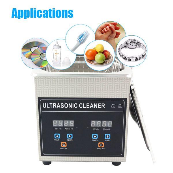 Digital de Aço Inoxidável Ultrasonic Cleaner Bath 800 ml 2.0L 3.2L 4.5L 6.5L Limpeza Jóias Relógio Óculos de Casa Ultrasonic Máquina De Lavar Roupa