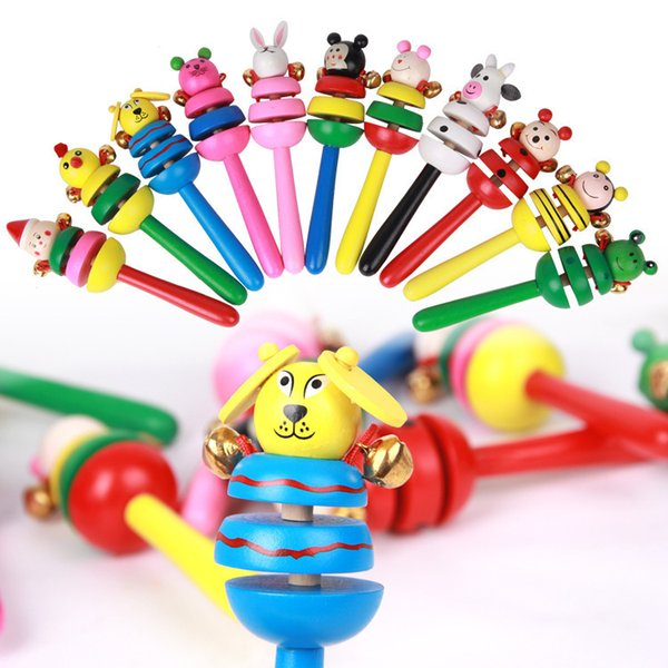 Wholesale- Wooden toy cartoon animal rattle Toys Cartoon Animal Wood Rattles Intellectual Development Toys Music with Bell Kids Baby Toys