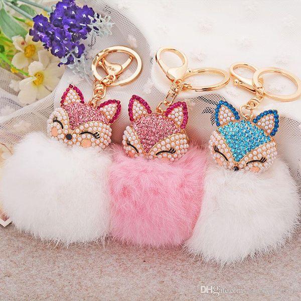 12 Colors lovely Genuine Leather key rings Fox Fur Ball Plush Car Key Rings Bag Pendant Car Keychains